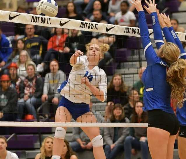 St. Paul's Isabelle Wyss had 18 kills in the final against Powder Valley. (Photo by Andre Panse)