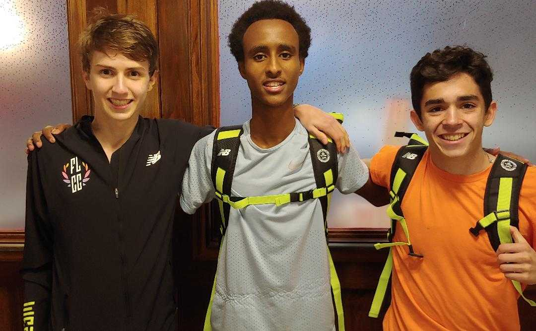 Oregon was well represented at Foot Locker with (from left) Charlie Robertson, Ahmed Ibrahim and Mateo Althouse.