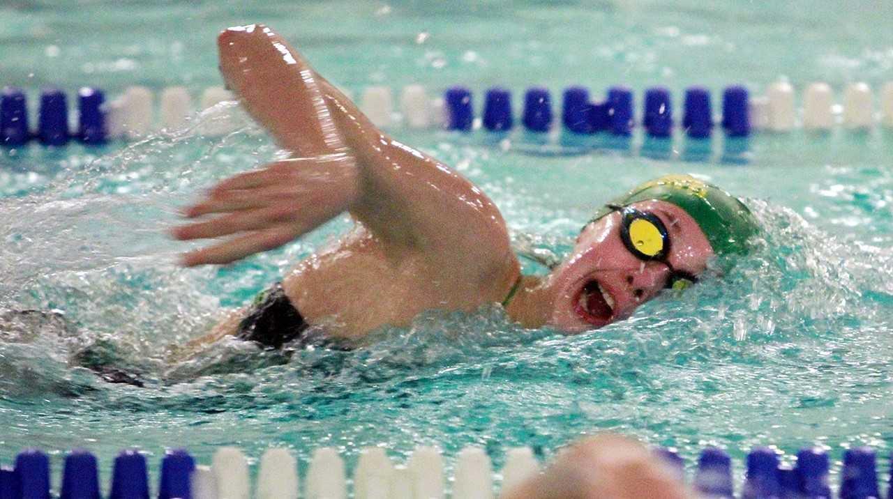 West Linn's Helena Jones swims the anchor leg of the winning 400 freestyle relay Thursday. (Miles Vance/West Linn Tidings)