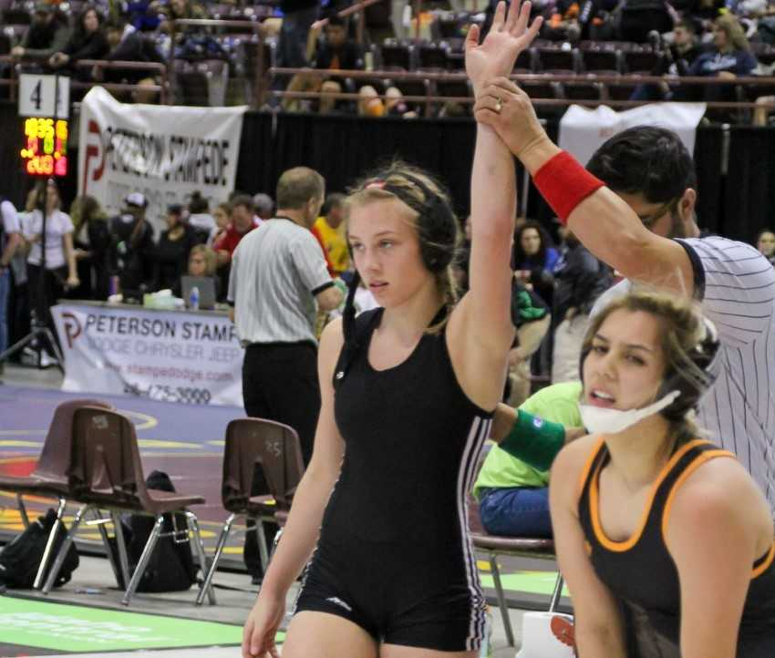 Vale's Tyler Richardson pinned all five of her opponents at the North Regional. (Ed Peterson/Eastern Oregon Sports Photos)
