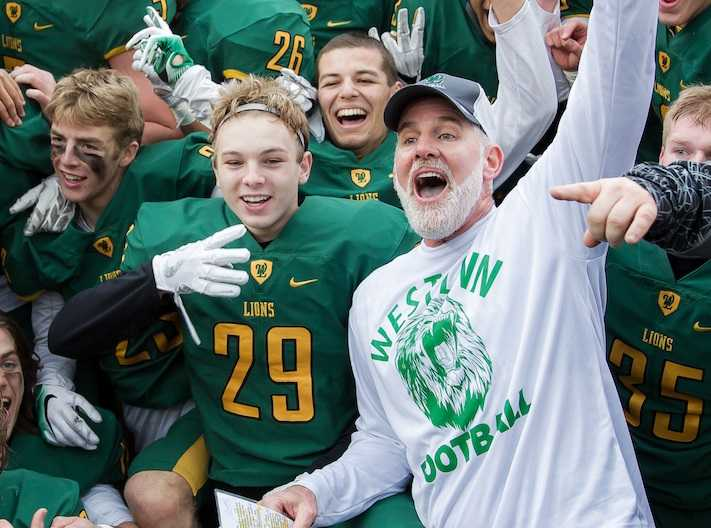 Chris Miller coached West Linn to the 6A football championship in 2016. (Photo by Brad Cantor)