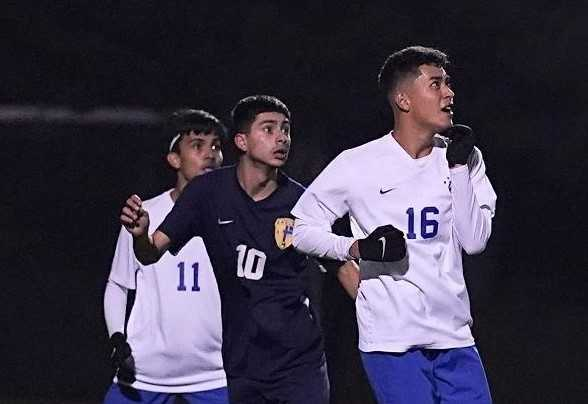 Stayton's Jayden Esparza (10), flanked by Woodburn defenders, had 20 goals and 15 assists in 2019. (Photo by Jon Olson)