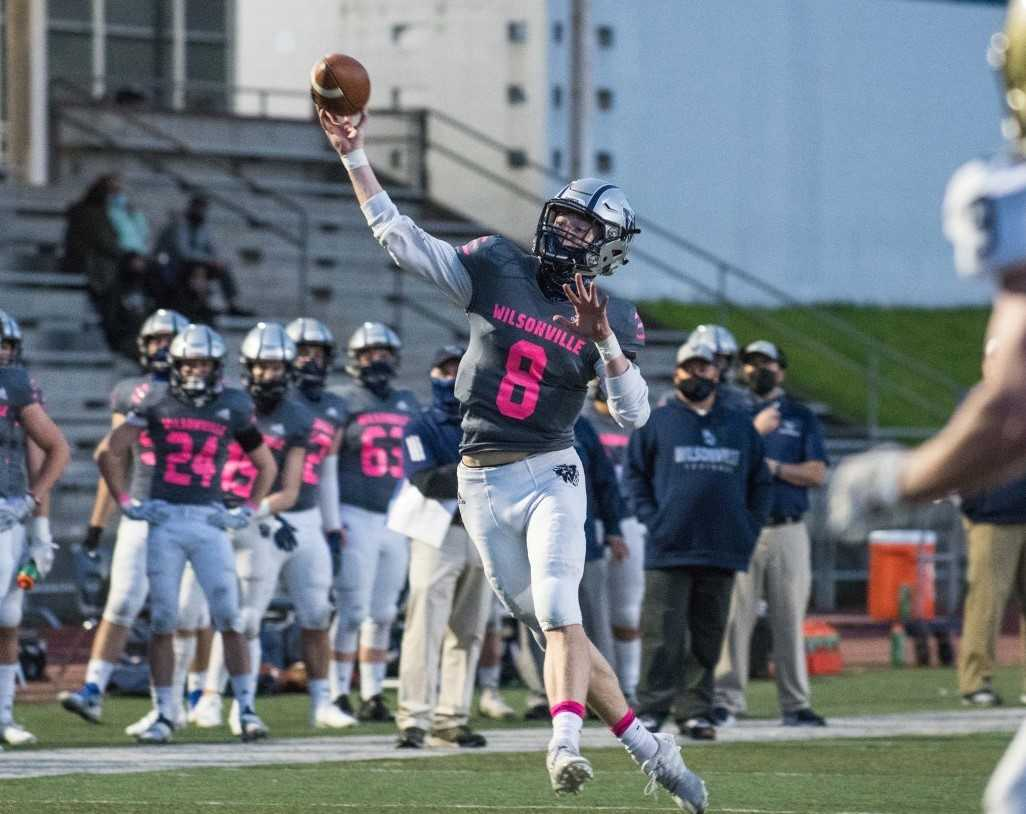 Wilsonville's Jayce Knapp, who threw for 30 touchdowns in 2019, has nine in three starts this season. (Photo by Greg Artman)