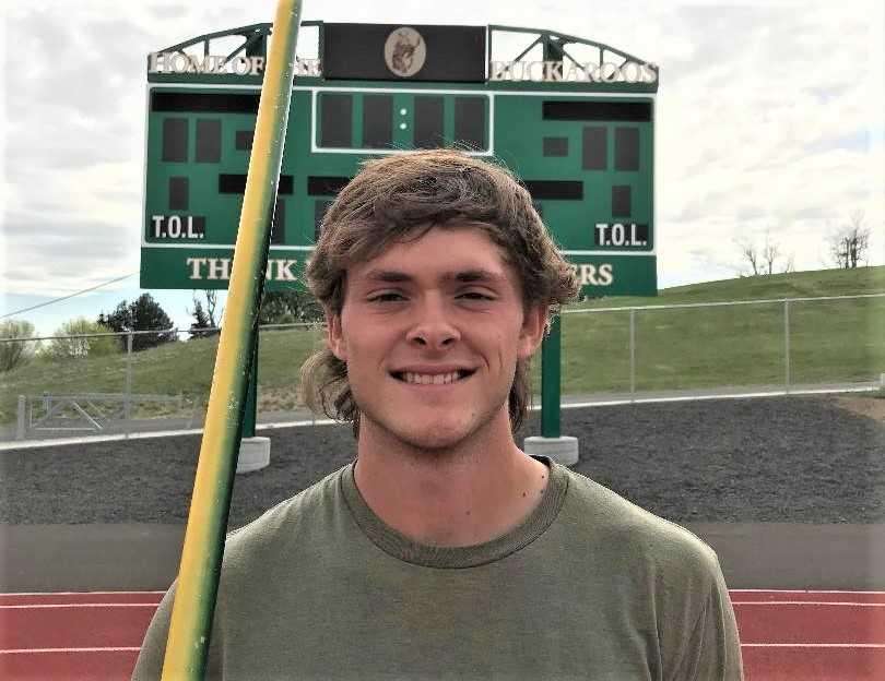Pendleton standout javelin thrower Samuel Jennings is contributing on the track this season, too. (Photo courtesy Pendleton HS)