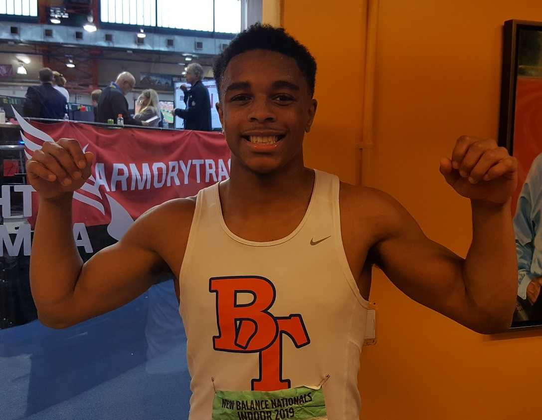 Micah Williams celebrates his win in New York on Sunday. (Photo by Doug Binder)